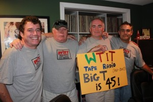 Our 45th Anniversary of WTIT. From left: Bud, Johnnie, Rock & The Midnight Plowboy