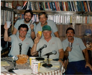 Our 1986 DJ staff sjhot. Top: B.B. and Bob. Lower: Bud, Johnnie & Cos.